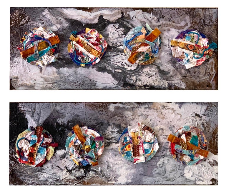 Worlds - Abstract Diptych Impasto Texture with Textile and Fiber in Grey & White For Sale 1