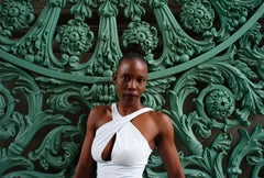 Untitled - Contemporary Photograph in Green and White of African Woman in London