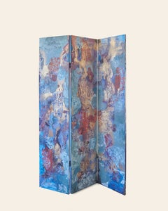 """Different Phases"" - Gorgeous Hand-Painted Abstract Room Divider in Gold + Blue"