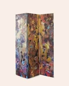 """Different Phases"" - Double Sided, Abstract Canvas Room Divider"