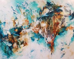 Sea Meets Cliff - Abstract Painting of Ocean Landscape with Brown, Teal & White