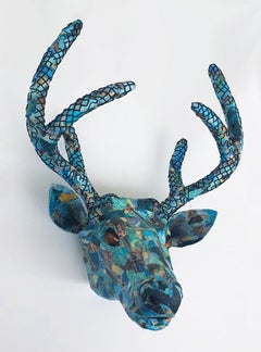Banff- Beautiful Jeweled, Teal Sculpture of Endangered Deer in Up-Cyled Material
