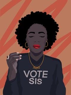 Vote Sis - Giclée Print of Black Women in Black + Orange + Red
