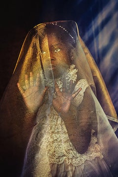 Veiled...Power in Those Hands- Stunning Photograph of Creole Girl in Black Gold