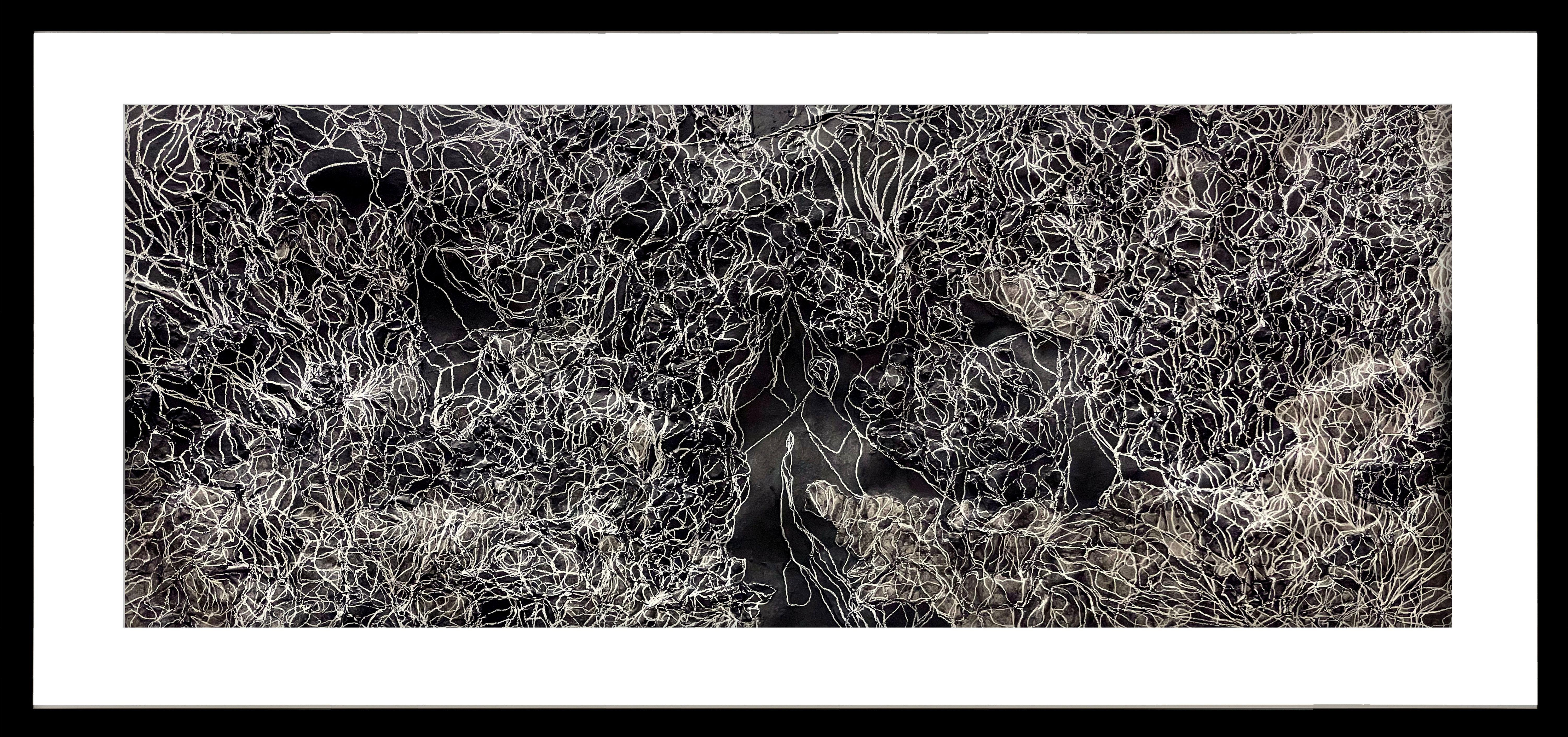 Fragments of Memory V - Textured Contemporary Abstract in Black & White