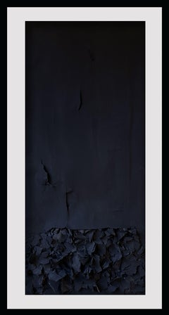 Burning Sage in Hopeful Prayer - Contemporary Abstract Sculptural Work in Black