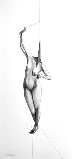 Alchemy II - Contemporary Abstract Figure Drawing in Pen + Ink + Graphite Black