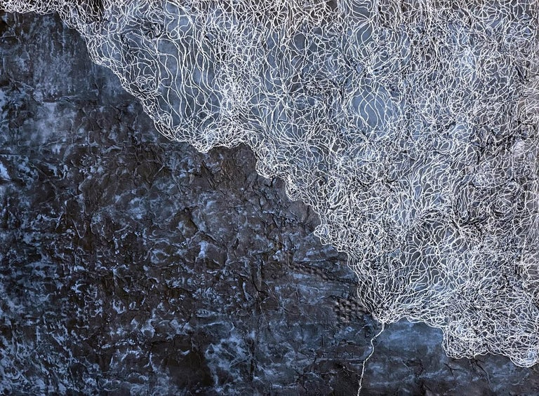 Katherine Filice Abstract Drawing - A Memory of the Breeze - Contemporary Abstract w/ Incredible Texture & Blues
