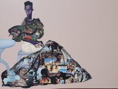 She Go Say I Be Lady O III - Collaged Painting of African Woman + People of Nige