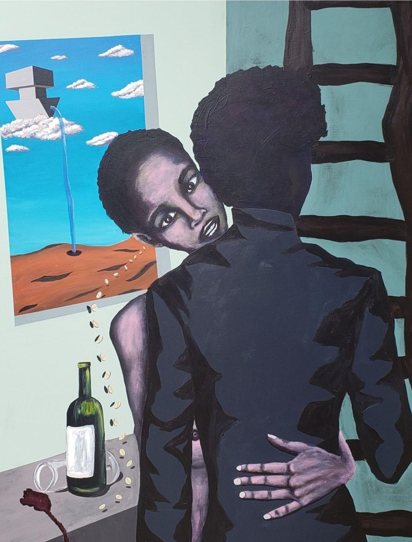 Wasting A Good Vintage - Surreal Figurative Painting by Nigerian American Artist