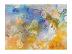 """Origins"" - Beautiful Mixed Media Abstract Painting with Yellow, Blue, Orange"