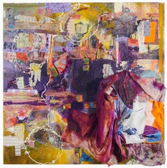 Window Shopping - Robert Rauschenberg type Abstract in Purple + Yellow