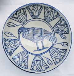 """Falcon & Lotus"" - Ceramic Bowl Hand Painted Blue and White"