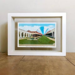 """""""Stables"""" - Vintage Antique Postcard of San Gabriel Mission with Embroidery"""
