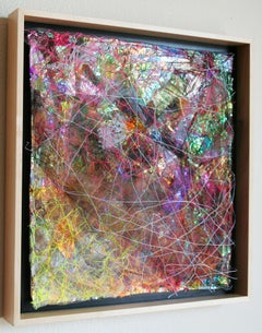 Emerge I  - Abstract Square Mixed Media Rainbow Textile Art / Wall Sculpture