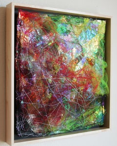 Emerge II - Abstract Square Mixed Media Rainbow Textile Art / Wall Sculpture