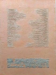 """Desert Runes"" - Encaustic Wax Painting in Grey, Pink, Creamw/ Texture"
