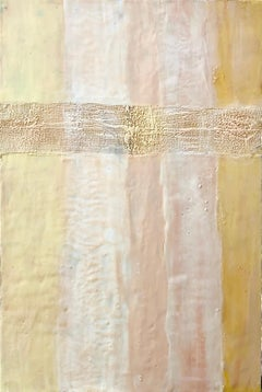 Fourth of July - Painting on Wood Panel with Cream, Ivory, Yellow by Linda Frueh