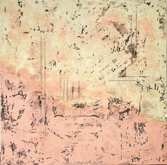 Summer Morning - Large Square Encaustic Abstract Painting with Sunset Colors