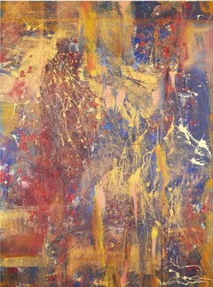 Safari - Large Abstract Painting with Drip, Splattered, Red, Blue, Gold Acrylic