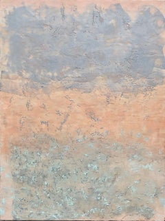 Ethereal - Large Square Encaustic (Wax) Abstract Painting with Peach, and Blue