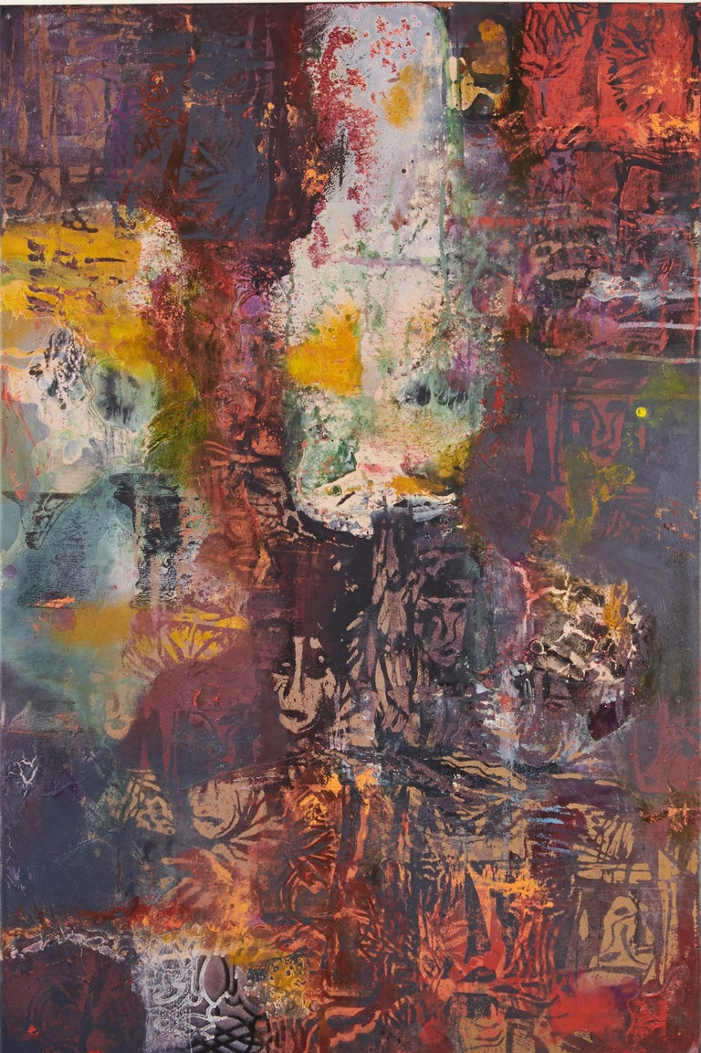 """Jennifer Blalack's large scale abstract painting, """"Girl With a Racing Car"""" is a hyper-textured work with splashes of vivid color against a muted background. Blalack highlights the relief of the texture creating an attractive depth in the work, while"""