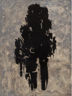 Legend - Large Black, Grey, & Cream, Textured Abstract Expressionist  Painting