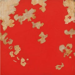 Garden Red - Bold Abstract Expressionist Panting with Beige Flowers