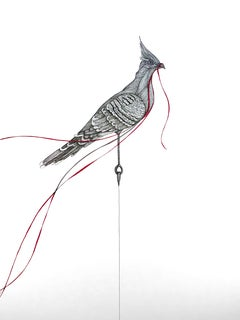"""Protester"" -Pen and Ink Black, White, Red Drawing of Cardinal with Silver Leaf"