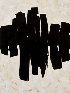 Stance- Bold Abstract Expressionist Painting in Black & Cream w/ Subtle Texture