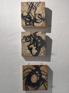 Abstract Triptych - Expressionist Painting with Earth Tones, Texture on Wood