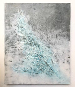 Ethereal II - Beautiful Encaustic Painting with Pine Needles in Grey + White
