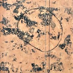 Petroglyph II - Luscious Peach Encaustic Painting w/ Warm Brushed Silver Frame