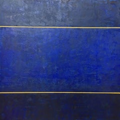 Sapphire Seas - Blue and Gold Encaustic Painting