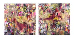 Information Overchoice - Mixed Media Diptych in Black, Pink and Yellow