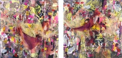 Information Overchoice - Eye Catching Mixed Media Diptych Black + Pink + Yellow