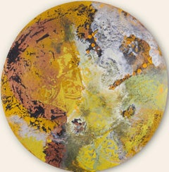 Shield of Agamemnon - Circular Canvas with Mixed Media Abstract