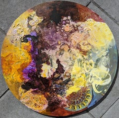 Mythology - Circular Canvas with Mixed Media Abstract in Yellow and Purple