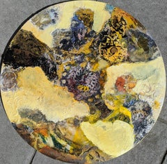 Fury- Round Mixed Media Abstract Painting in Yellow Ochre Brown Circle