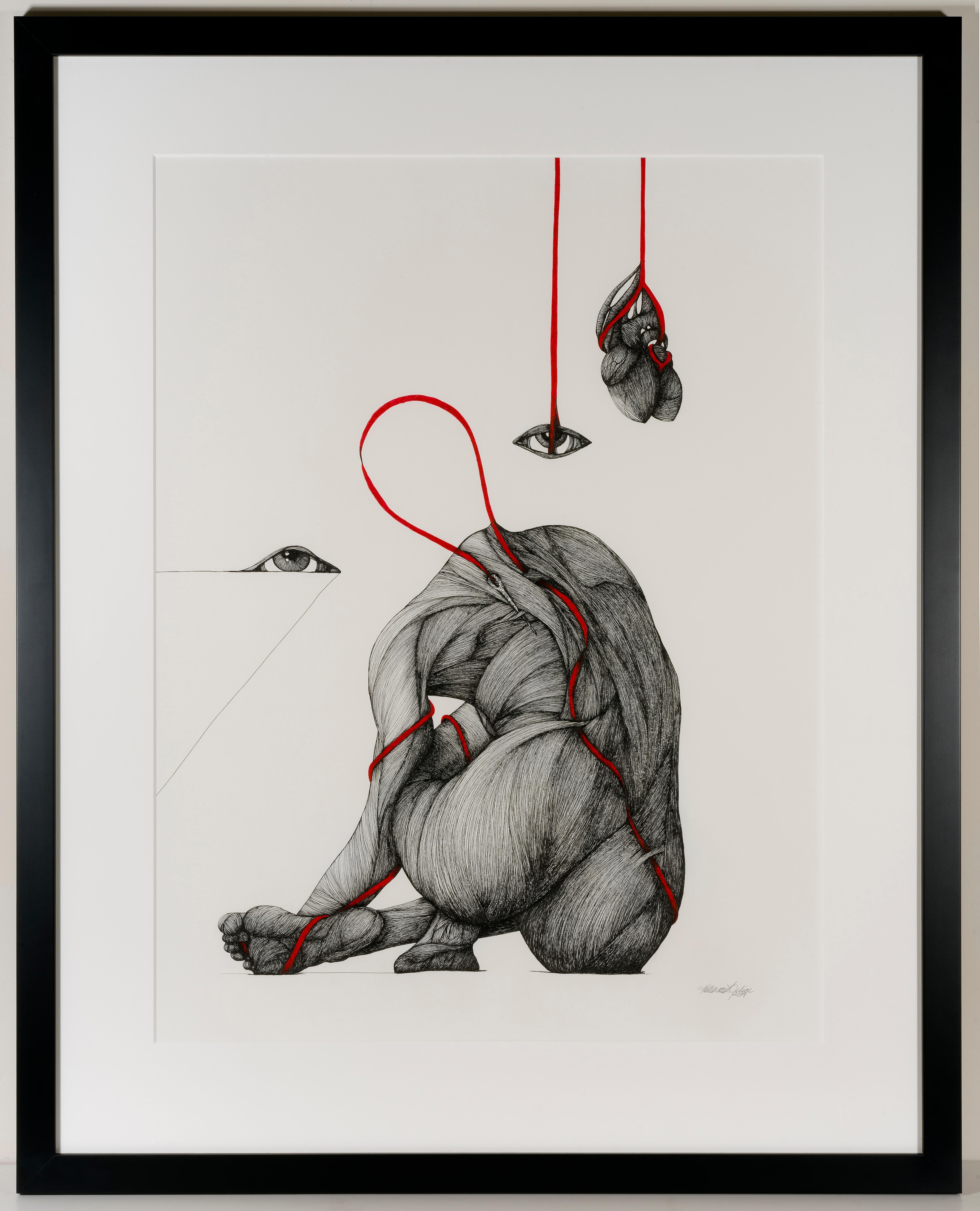 Communion- Ink on Paper with Silver Leaf, Black, White, Red Surreal Drawing