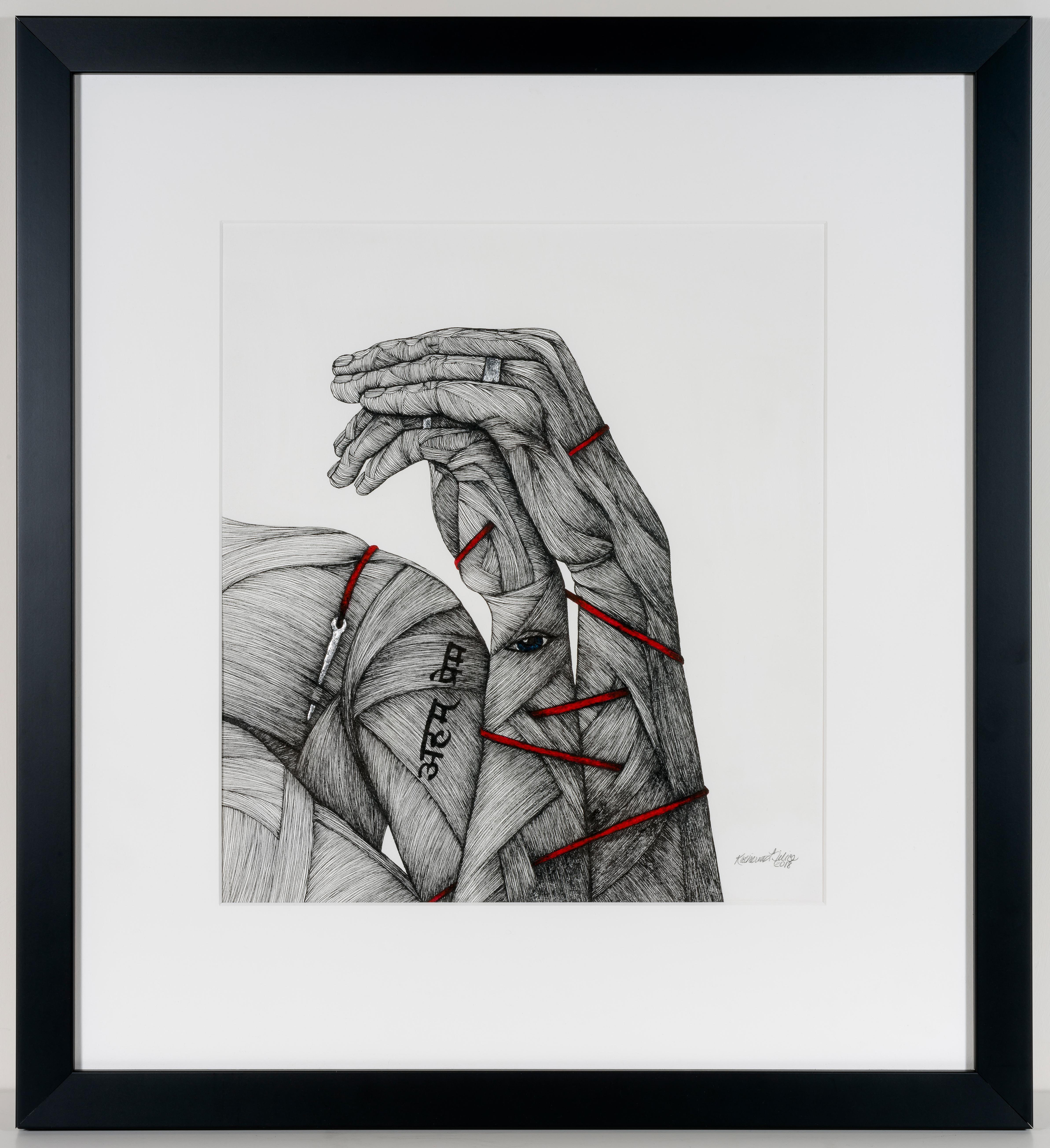 Eternity (The Sacrament)- Black and White Figurative Print in Pen and Ink