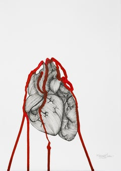 Heartbeat- Framed Ink on Paper, Black, White, Red Drawing of Bleeding Heart