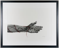 Mending- Ink on Paper with Silver Leaf. Black, White and Red Figurative Drawing