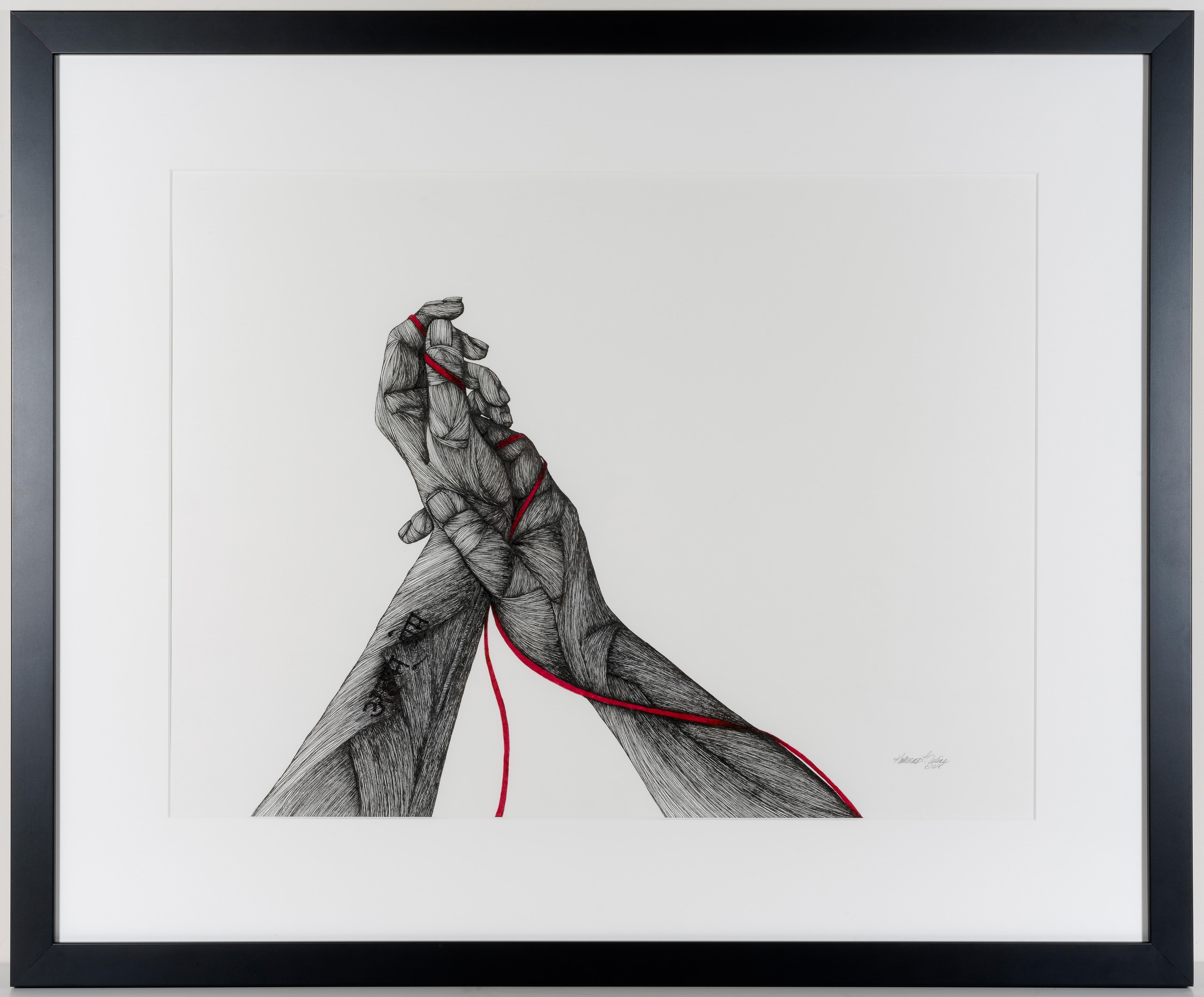 Home- Ink on Paper. Black, White, and Red Figurative Drawing