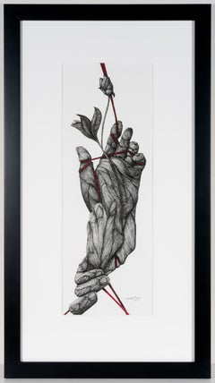 Novum- Ink on Paper, Collage. Black, White and Red Figurative Drawing