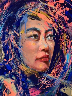 """VI"" Colorful Painting of Asian Woman / Female Portrait Purple Pink and Blue"