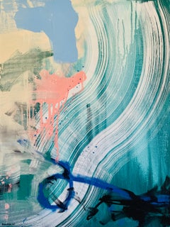 Just Breathe- Abstract Acrylic on Canvas - Grey, Pink, Teal, Blue