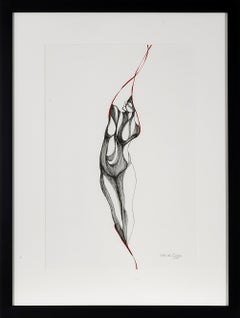 Pose Three Study II - Black, White and Red Nude Figure Drawing in Pen and Ink