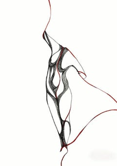 Pose Three Study III - Black, White and Red Figurative Drawing