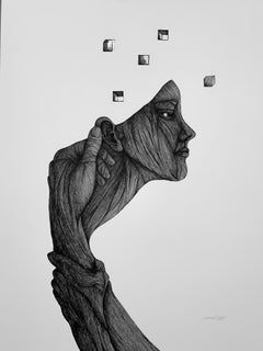 """Memory (of a Dream)"" - Pen, Ink, Black White Drawing of Female Figure"